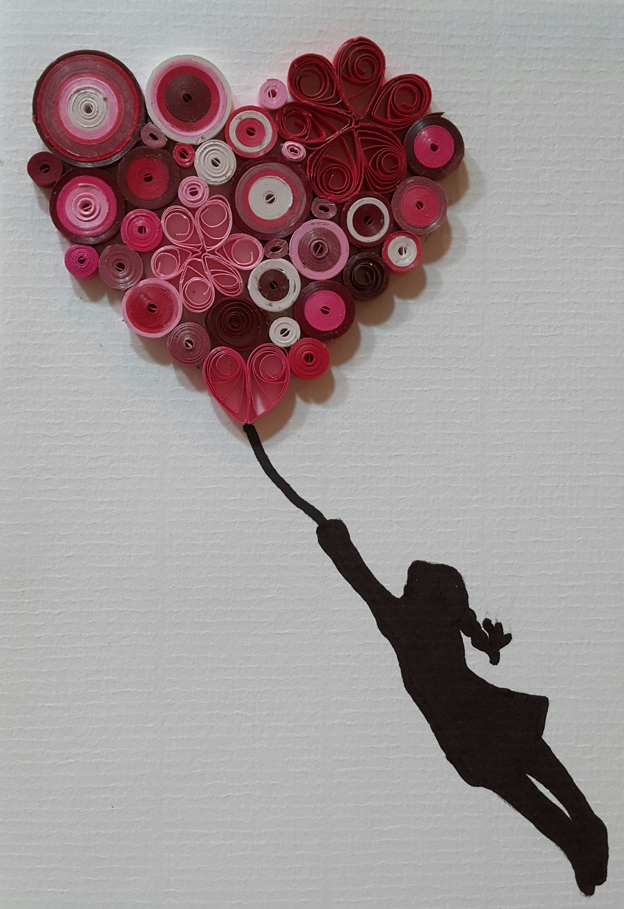 Girl with Flying Heart Balloon