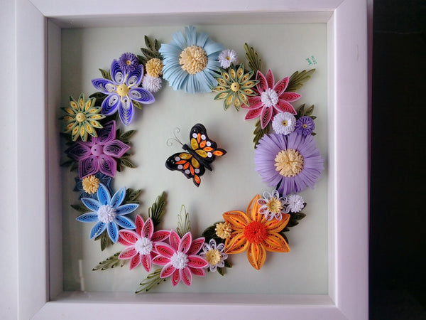 Butterfly Encompassed by Flower Wreath