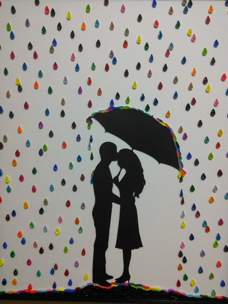 Couple in Quilled Rain