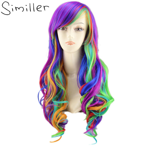 "Similler 22"" Rainbow Colorful Long Curly Women Wigs Synthetic High Temperature Fiber Fake Hair Cosplay Tilted Frisette"