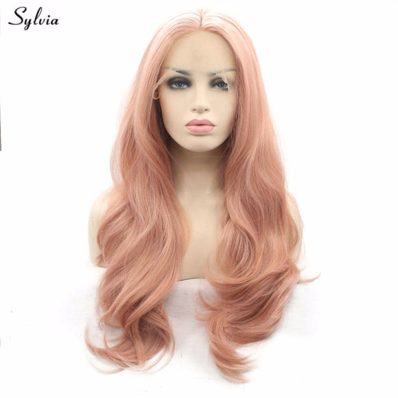 Sylvia Rose Gold Color Hair Nature Wave Synthetic Lace Front Wigs Soft Pastel Pink Gold Glueless Heat Resistant Fiber For Women