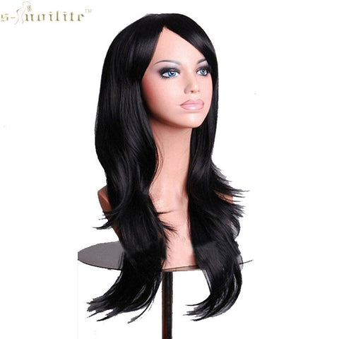 SNOILITE 23inch Halloween Women Wig Synthetic Hair Long Curly Cosplay Wigs Hair Black