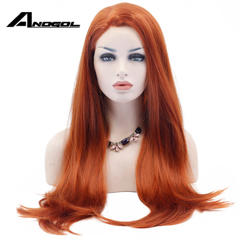 Anogol Long Natural Straight Synthetic Lace Front Wig Glueless Auburn High Temperature Heat Resistant Fiber Hair Women Wigs