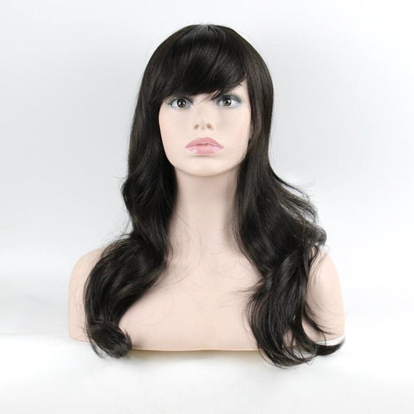 JOY&BEAUTY hair Inclined bang long wavy wig Synthetic Hair matte natural black 60cm for women wig free shipping