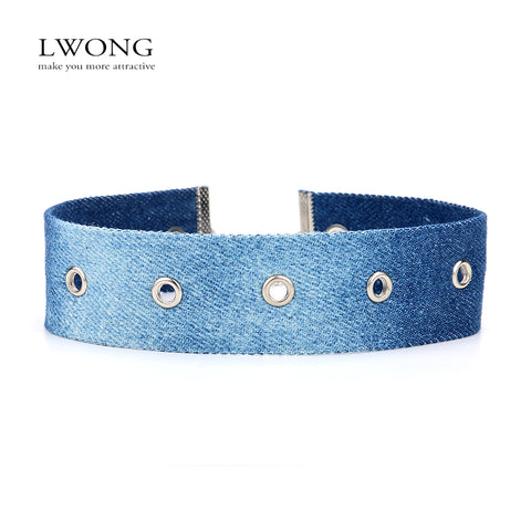 LWONG Fashion Blue Denim Chokers Jewellery Handmade Jeans Choker Necklace With Holes Statement Necklaces Chocker 2017 New Hot