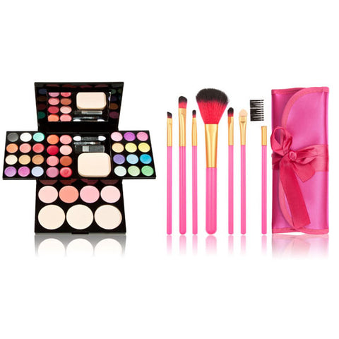 Professional Makeup Set Eyeshadow Pallet Makeup Palette Kit Powder Blusher Cosmetic Lipstick Tools 7 Make UP Brushes Gift Wife