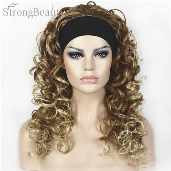 Strong Beauty Synthetic Half Wig With Headband Long Curly Full Capless Women Wigs
