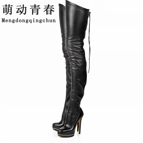 2017 Women Boots Stretch PU Leather Over The Knee High Sexy Ladies Party High Heels Platform Shoes Woman Black Plus Size 43