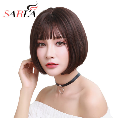 "SARLA 10"" Short Bob Wig High Temperature Fiber Womens Brazilian Wigs Synthetic Daily Cancer Wigs"