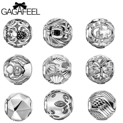 Silver DIY Round Charm Beads Balls Pendants for Women Men Necklaces Bracelets Bangle Fashion Male Female Jewlery Friendship Gift