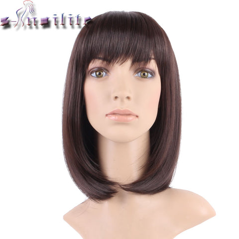 S-noilite 100% Real Natural 16inches 160g Silky Straight Dark brown Party BOB Hair Wig Synthetic Wigs with Bangs Full Head