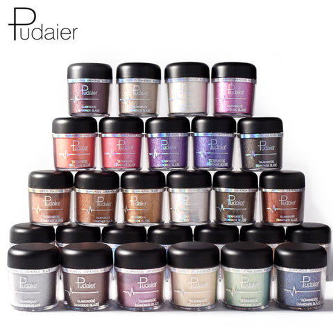 PUDAIER New Glitter Metallic Powder Eyeshadow Single Color Pigments Easy to Wear Waterproof Shimmer Eye Shadow Powder Make Up