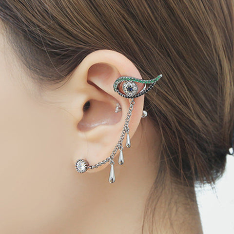 eye clip on earrings water drop ear cuff masculino women earrings rhinestone ear jacket wrap earcuff brincos