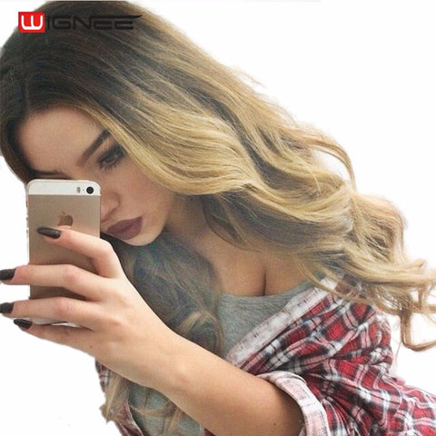 Wignee Hand Made Front Ombre Color Long Blonde Synthetic Wigs For Black/White Women High Temperature Halloween Cosplay Hair Wig