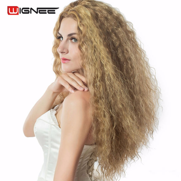 Wignee Mixed Ash Blonde High Temperature Synthetic Fiber Women Wigs Kinky Curly Cosplay Halloween Hair Wig For African Americas