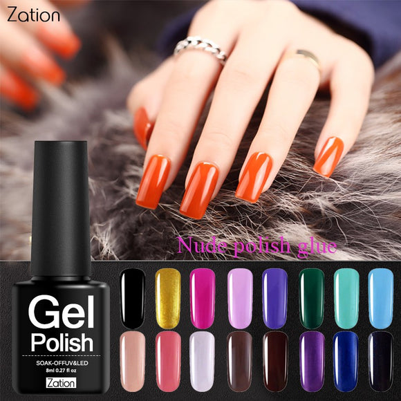 Zation 8ML Varied Lucky Star Colors Gel Nail Polish UV LED Hybrid Lacquer Top Base Coat Clear Gel Nail Polish
