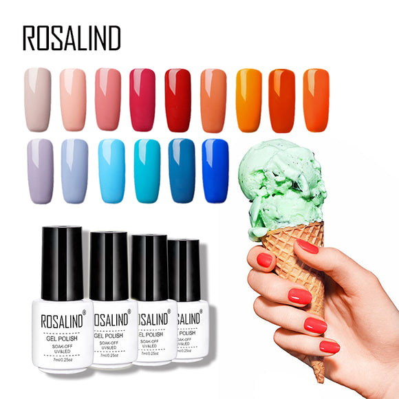ROSALIND 7ML  Color Series Nail Gel Polish Shimmer Soak Off Nail Art Vernis Long Lasting Gel Varnishes Manicure Nail Polish
