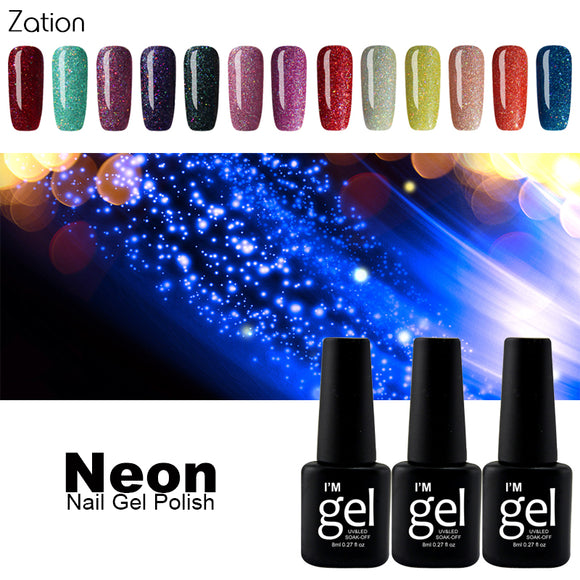Zation Glitter Neon Gel Nail Polish Colorful Shimmer UV Gel Varnish Art Fluorescent Soak Off Lacquer Nail Polish Manicure