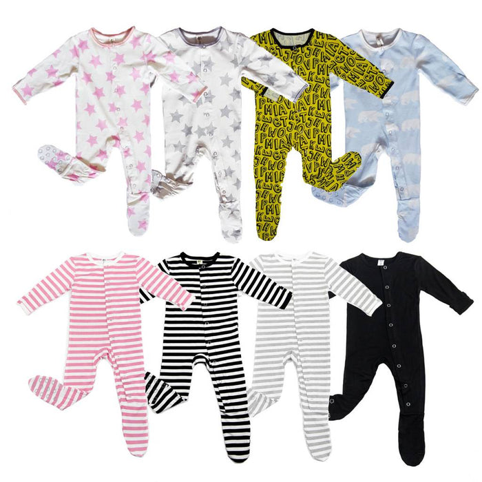 Stripe Bamboo Footie- Earth Baby Outfitters - Camila New York