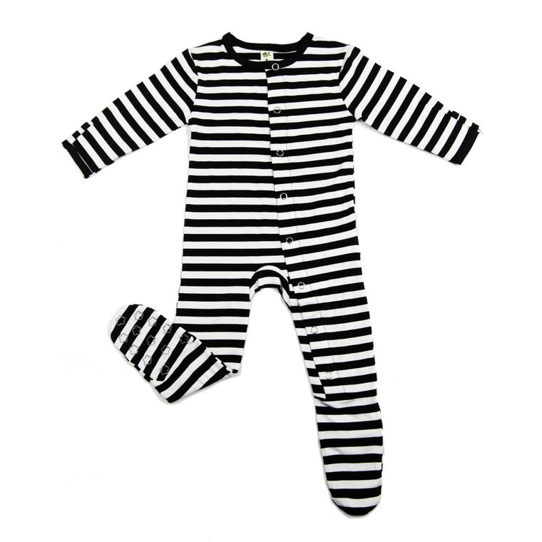 Stripe Bamboo Footie- Earth Baby Outfitters