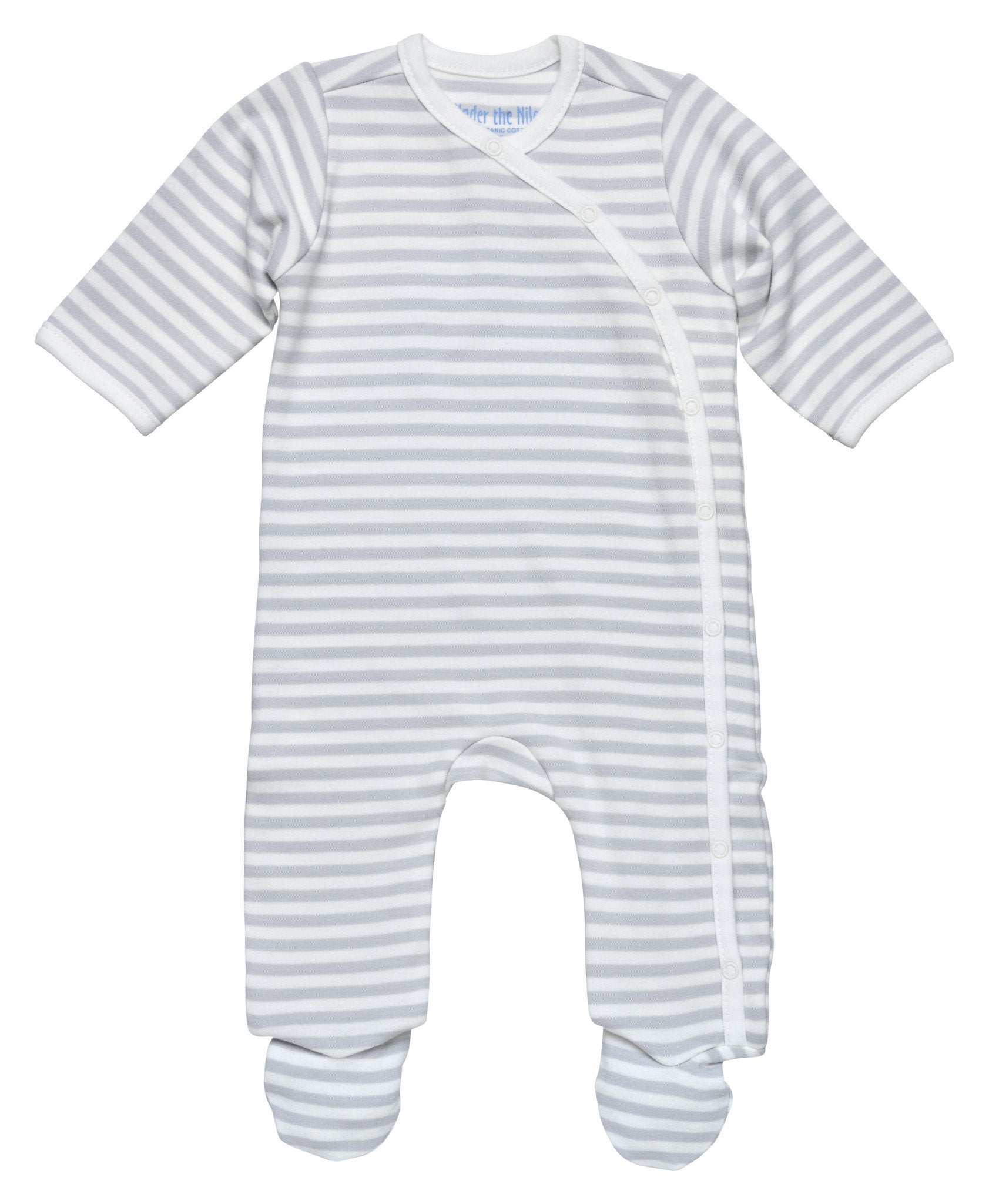 Side-Snap Grey Stripe Footie - Under the Nile - Camila New York