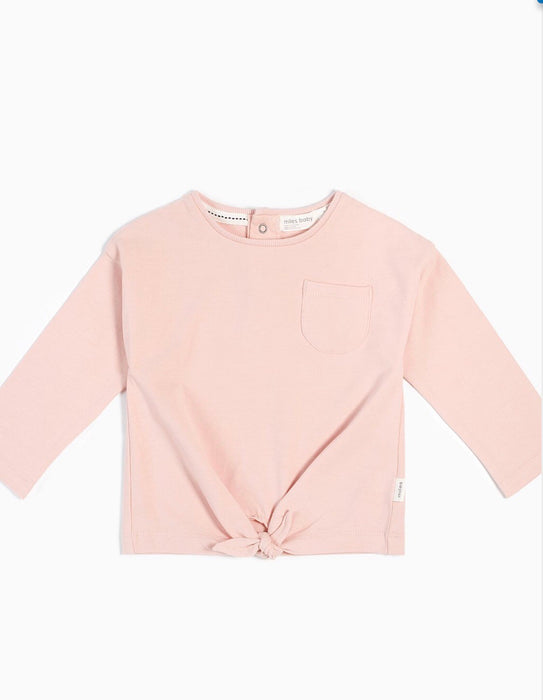 LIGHT PINK KNOTTED LONG SLEEVE TOP - Camila New York