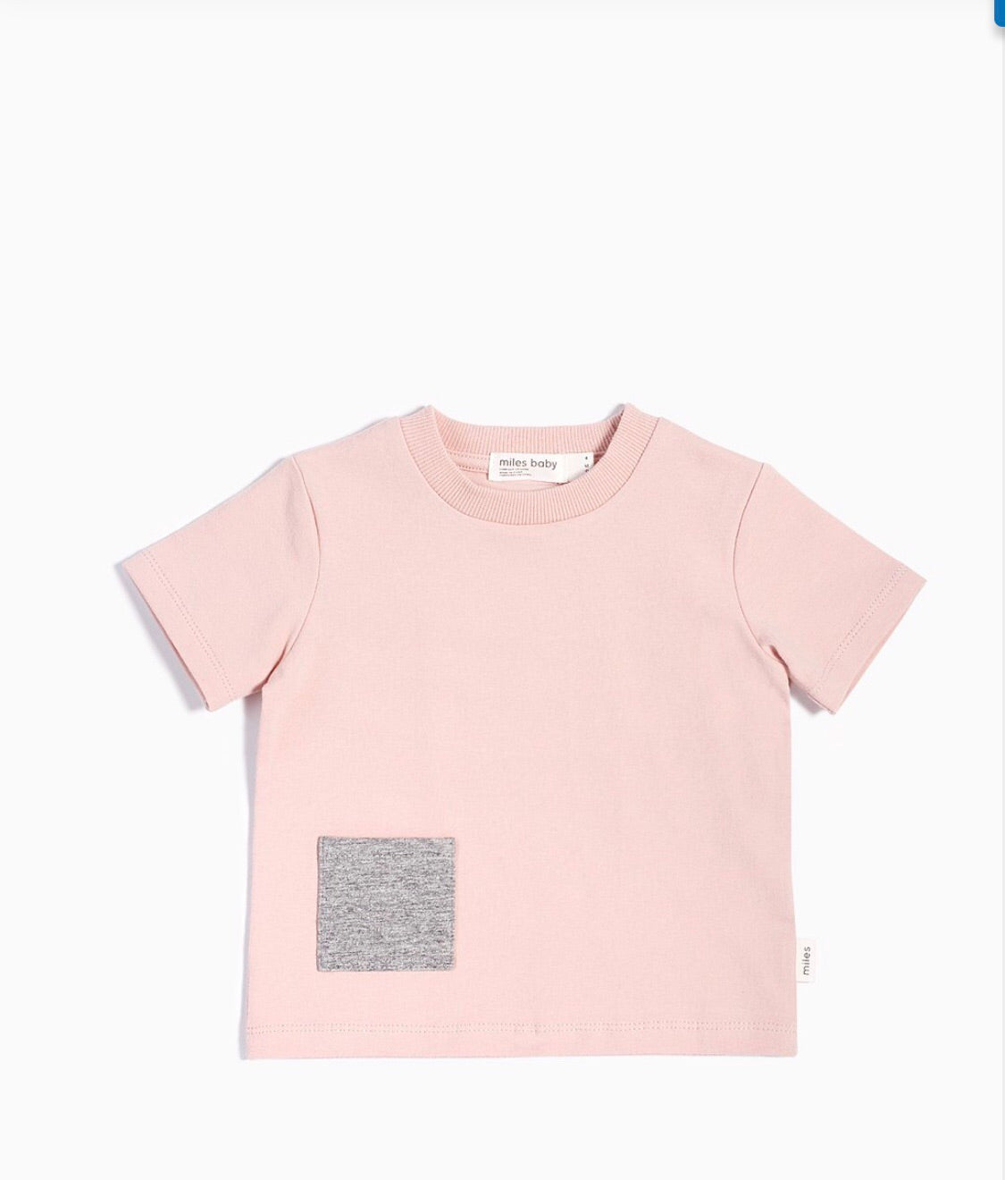 """MILES BASIC"" LIGHT PINK T-SHIRT WITH CONTRASTING PATCH POCKET - Camila New York"