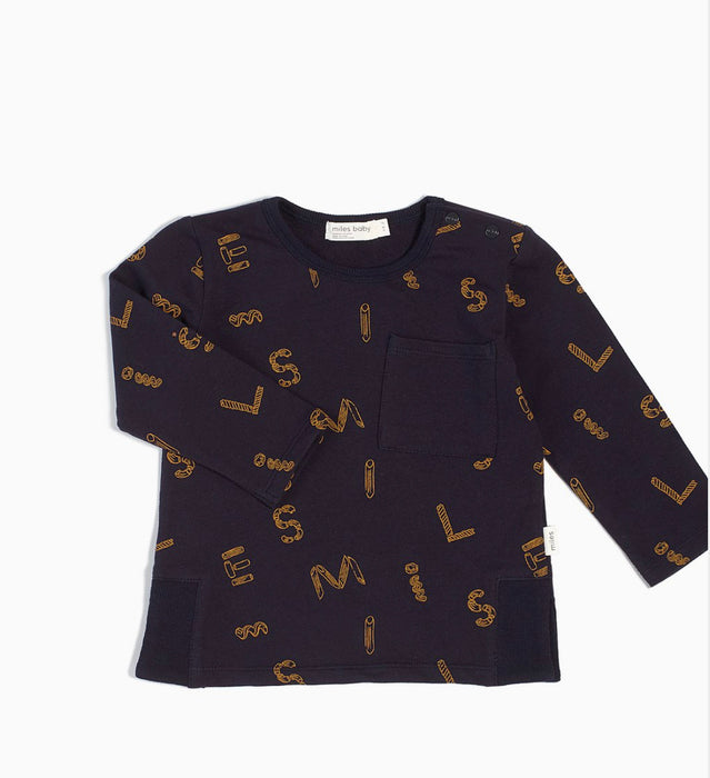 "NAVY ""IT PASTA BE YOU"" LONG SLEEVE TOP"