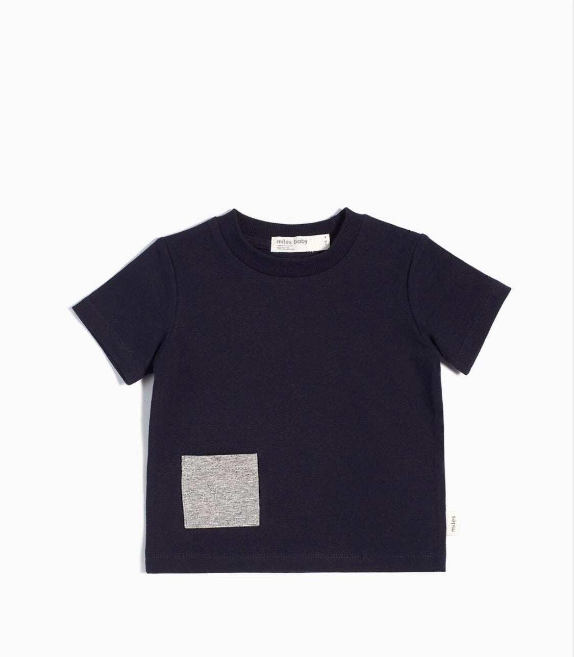 """MILES BASIC"" NAVY T-SHIRT WITH CONTRASTING PATCH POCKET - Camila New York"