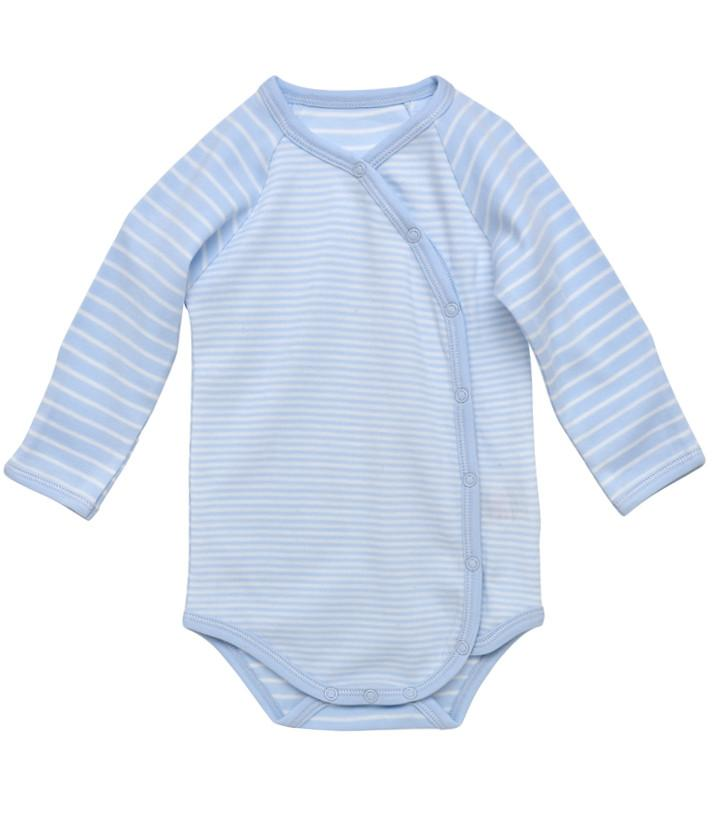 Long Sleeve Side Snap Bodysuit- Pale Blue Stripe - Under the Nile