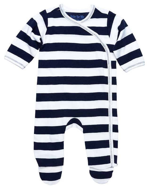 Side Snap Footie- Navy Rugby Pajama Set - Under the Nile - Camila New York