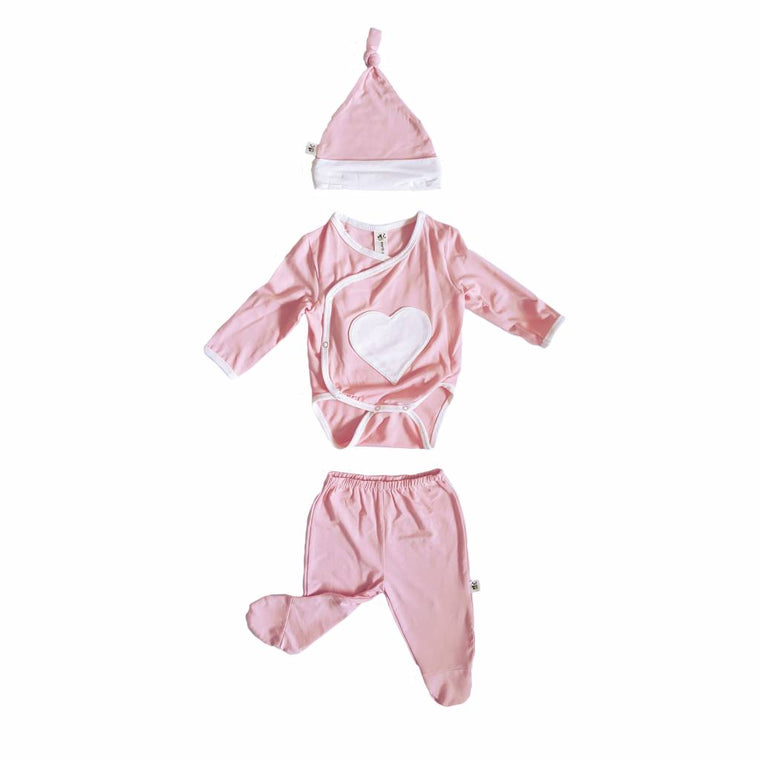 Pink Embroidered Bamboo 3 pc Newborn Set