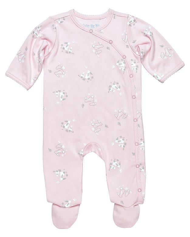 Pink Bunny Side Snap Footie - Under the Nile - Camila New York