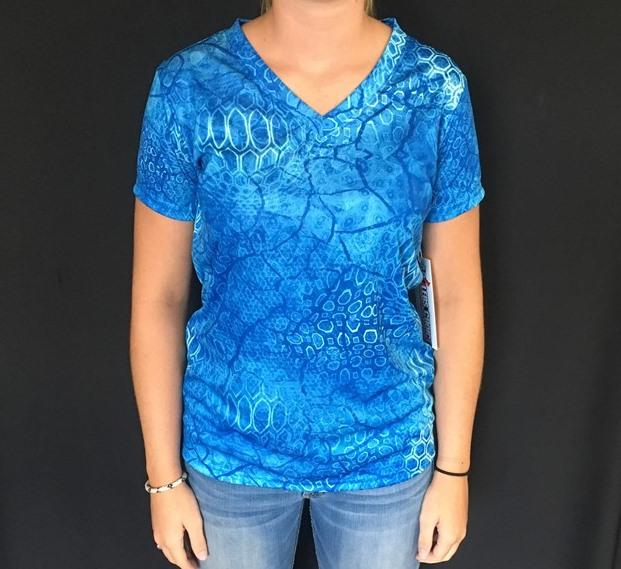Women's Blue SS Performance Tee - Angler's Choice Marine