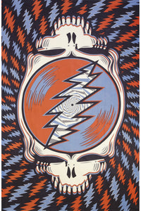 3D Grateful Dead Spin Your Face Tapestry Red White Blue