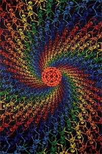 3-D Rainbow Skeletons Spiral Tapestry