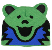 Grateful Dead Knit Beanie Bear Head Hat Green