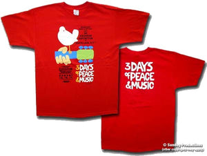 Woodstock Poster on a Red t-shirt - eDeadShop.com
