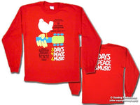 Woodstock Poster Long Sleeve on a Red t-shirt - eDeadShop.com