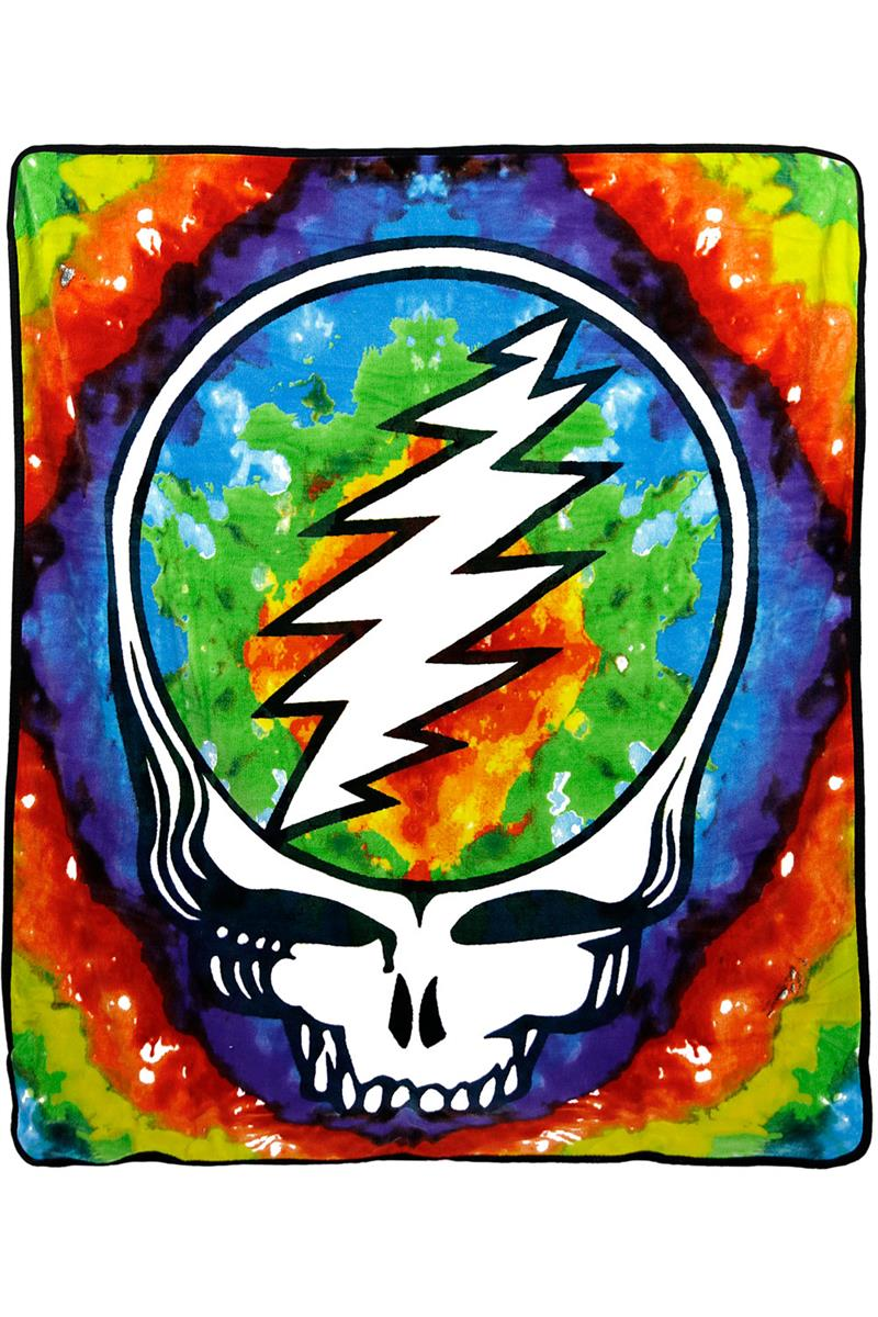Grateful Dead Steal your Face Tie-Dye Fleece Throw Blanket