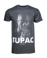 Tupac Praying Charcoal Heather Men's T-Shirt