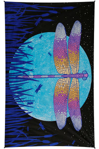 3D Glow in The Dark Dragonfly Moon Tapestry