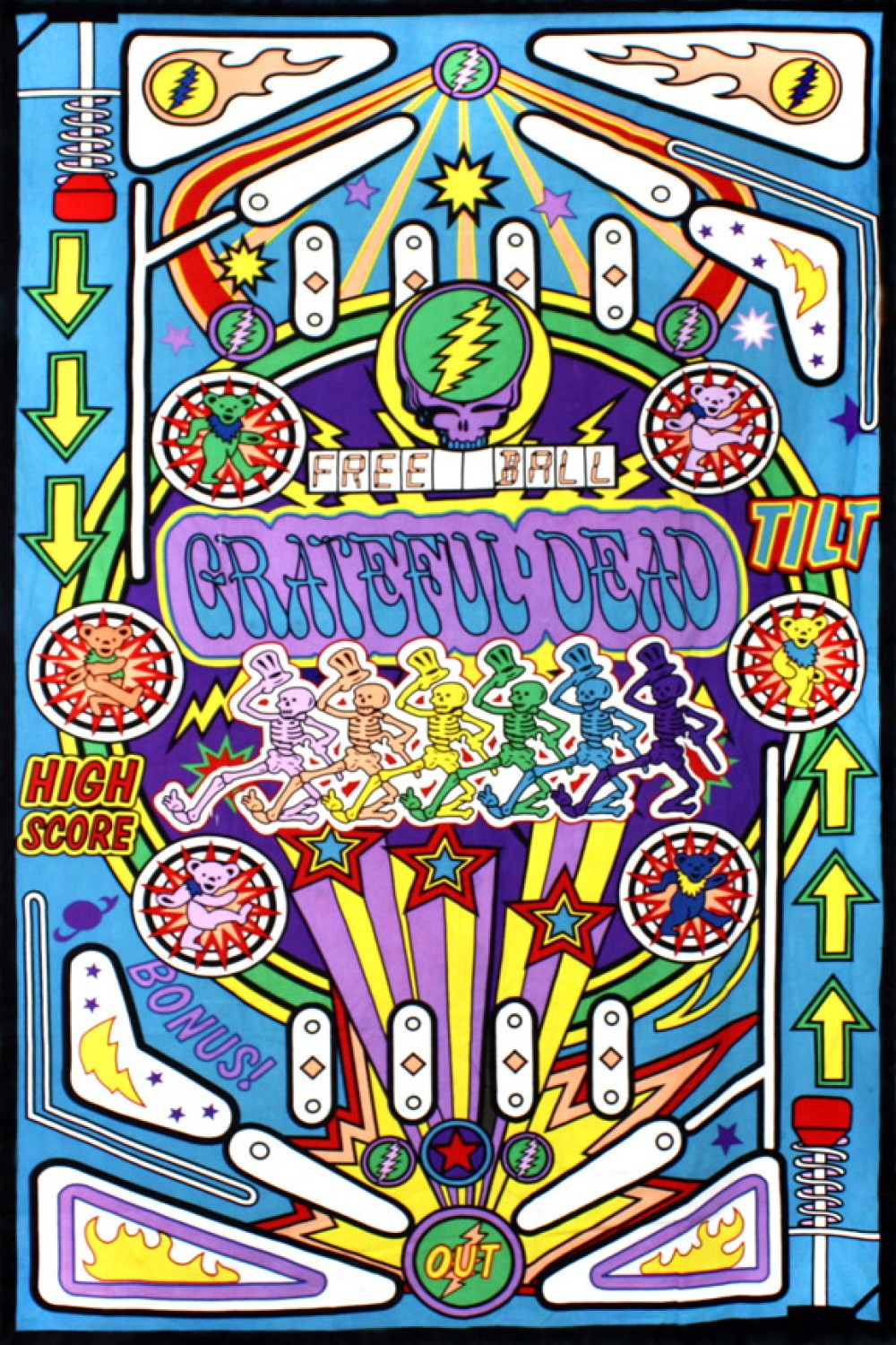 3D Grateful Dead Pinball Machine Tapestry - eDeadShop.com