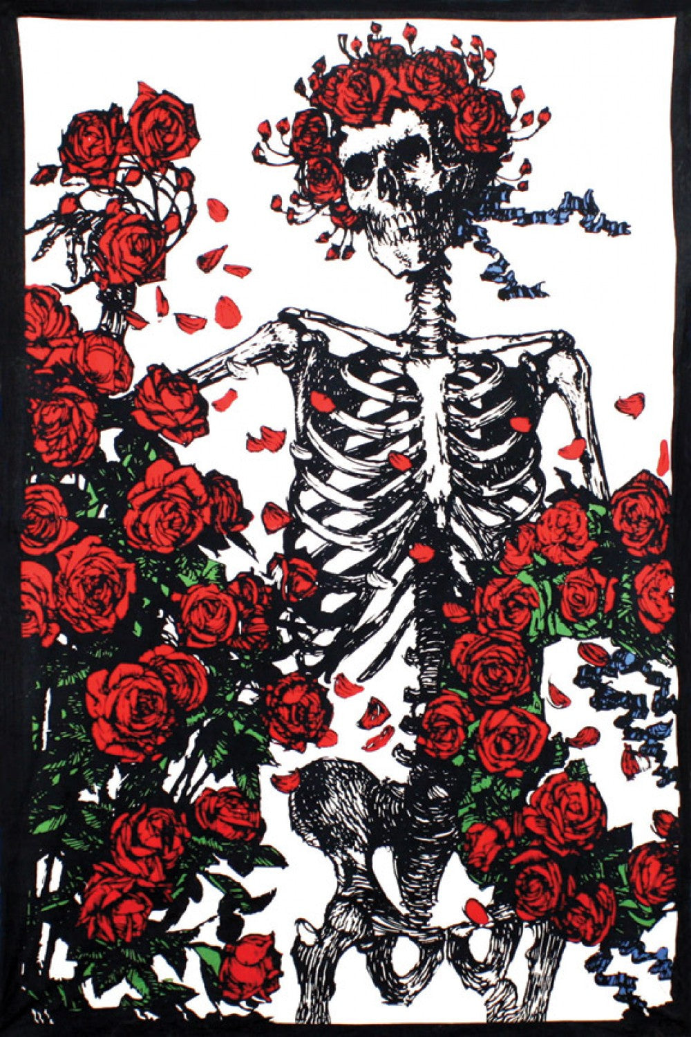 3D Grateful Dead Skeleton & Roses Tapestry 60x90 - eDeadShop.com