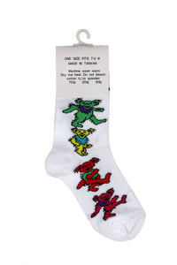 Men's White Dancing Bear Grateful Dead Socks