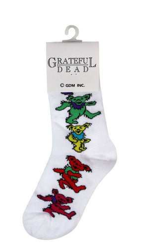Ladies' White Dancing Bear Grateful Dead Socks