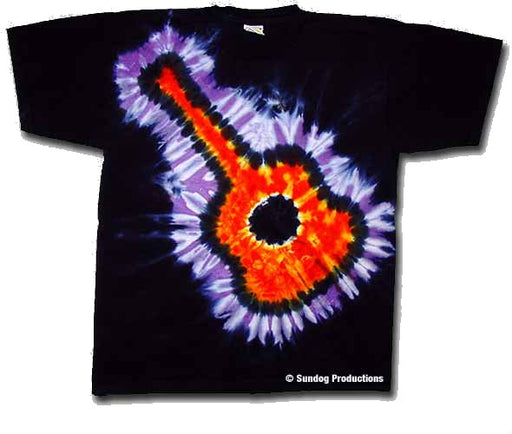 Flaming Guitar tie dye t-shirt
