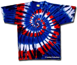 Red Wild and Blue Spiral Tie Dye Shirt