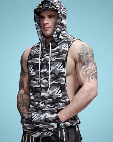 CAMOUFLAGE SLEVELESS TANK/HOODIE | CAMOUFLAGE HOODIE SANS MANCHE