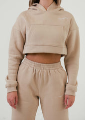 Simply Slay Cropped Hoodie Cappuccino